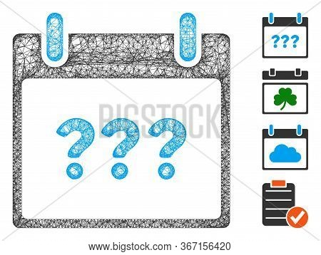 Mesh Unknown Day Calendar Page Web Symbol Vector Illustration. Model Is Based On Unknown Day Calenda