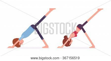 Young Yogi Man, Woman In Sports Wear Practicing Yoga, Partners Doing Downward Facing Dog Pose, Eka P