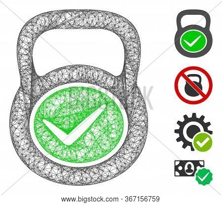 Mesh Valid Iron Weight Web Icon Vector Illustration. Carcass Model Is Based On Valid Iron Weight Fla