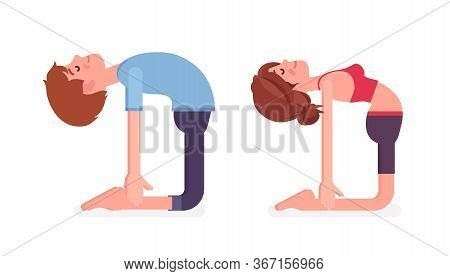 Young Yogi Man And Woman In Sports Wear Practicing Yoga, Partners Doing Ustrasana Pose, Camel Exerci