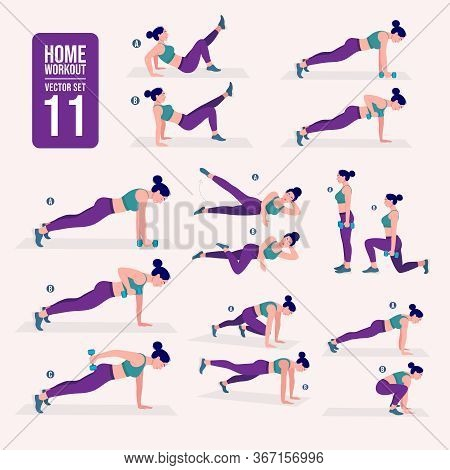 Home Workout Set. Set Of Sport Exercises. Exercises With Free Weight.illustration Of An Active Lifes