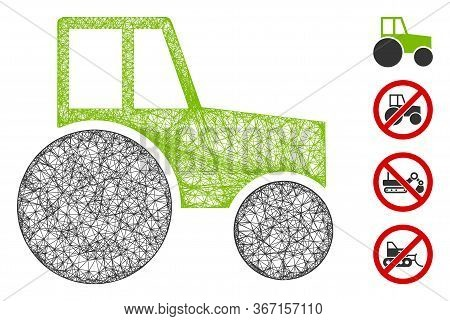 Mesh Wheeled Tractor Web Icon Vector Illustration. Model Is Based On Wheeled Tractor Flat Icon. Mesh