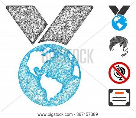 Mesh World Medal Web Icon Vector Illustration. Model Is Created From World Medal Flat Icon. Mesh For