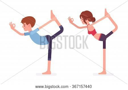 Young Yogi Man And Woman In Sports Wear Practicing Yoga, Partners Doing Natarajasana Pose, Lord Of T