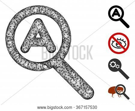 Mesh Zoom Auto Web 2d Vector Illustration. Carcass Model Is Based On Zoom Auto Flat Icon. Network Fo