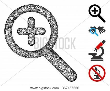 Mesh Zoom In Web 2d Vector Illustration. Carcass Model Is Based On Zoom In Flat Icon. Mesh Forms Abs