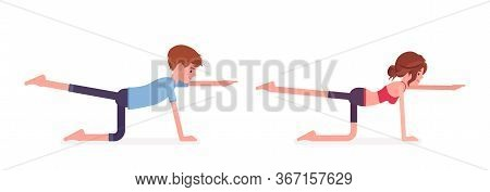 Young Yogi Man And Woman In Sports Wear Practicing Yoga, Partners Doing Donkey, Kick Pose, Bird Dog