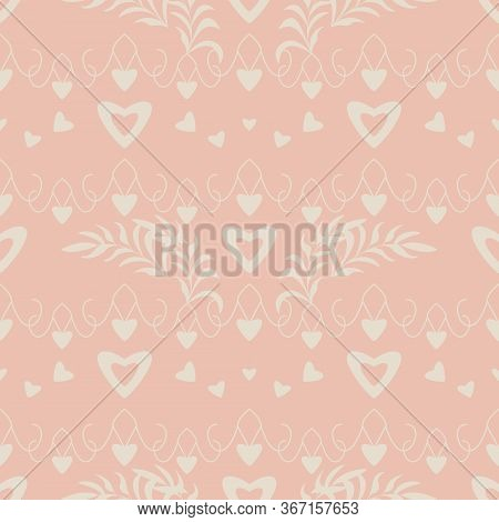 Seamless Pattern With Hearts, Little Hearts And Leaves. Color Orange And Ivory Cream Pastel Colors.