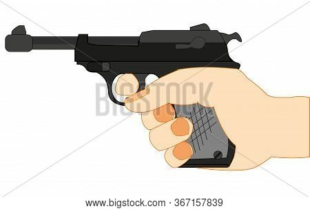 German Gun Walther In Hand Of The Person