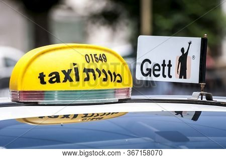 Tel Aviv, Israel. May 19, 2020. The Gett Taxi App Taxi Cab Parked In The Street. It's An Application