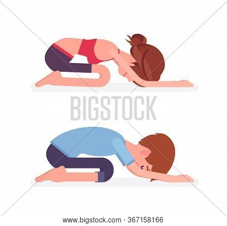 Young Yogi Man And Woman In Sports Wear Practicing Yoga, Partners Doing Child Pose, Balasana Exercis