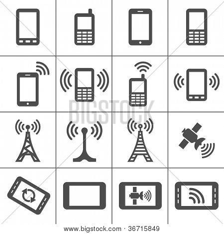 Simplus icons series. Mobile devices and wireless technology