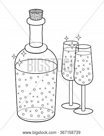 Bottle And Two Glasses - Vector Linear Picture For Coloring. A Corked Bottle And Two Glasses Filled