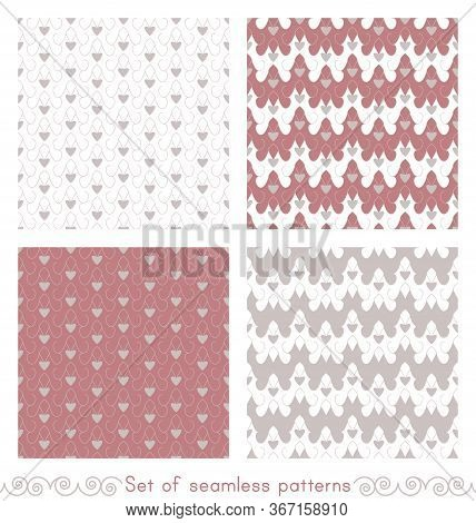 Set Of Seamless Patterns With Little Hearts, Abstract. White, Pink Red And Grey. Vector.