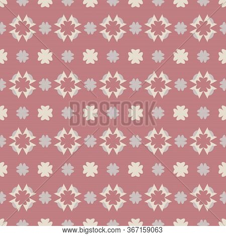 Seamless Pattern With Little Abstract Hearts. Pink Red Color, Grey And Ivory Cream. Vector.