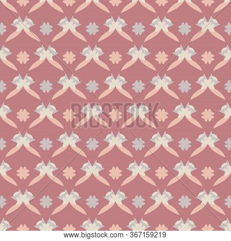 Seamless Pattern With Little Abstract Hearts. Wpink Red, Grey, Orange And Ivory Cream. Vector
