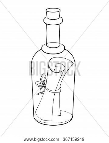Letter In A Bottle - Vector Linear Picture For Coloring. Bottle Mail - A Closed Bottle With A Scroll