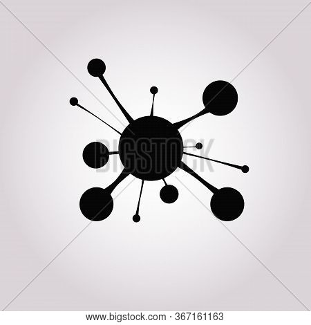 Neural Network Icon In Simple Line Style Isolated On Gray Background. Neural Network Symbol For Your