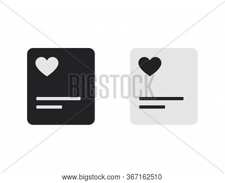 Favorite File Document With Heart Icon. Isolated Folder Or Book With Heart Shape. Template Of Bookma