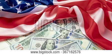 American Flag And Dollar Cash Money. Dollar Banknote And Usa Background. Paycheck Protection Program
