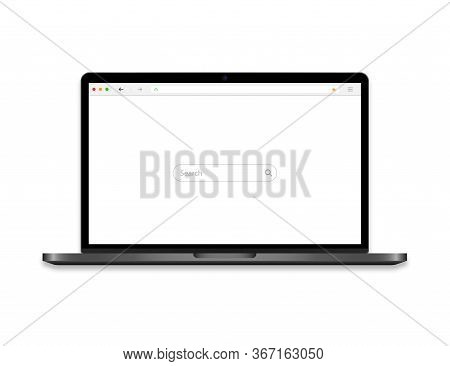 Laptop With Browser On Screen. Computer Icon With Search Bar And Magnifier. Notebook Mockup With Web