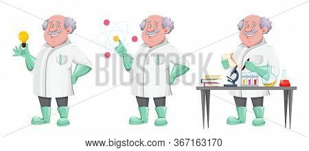 Handsome Professor Cartoon Character, Set Of Three Poses. Usable Also As Scientist, Chemist, Laborat