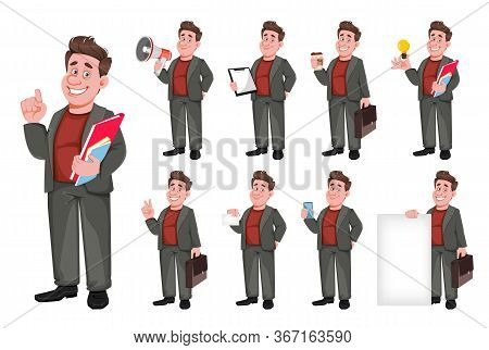 Smiling Middle Aged Businessman, Set Of Nine Poses. Happy Handsome Business Man Cartoon Character. V