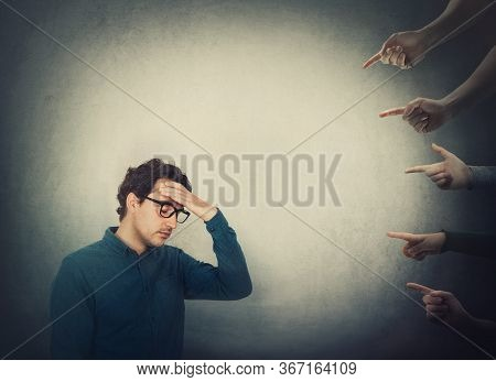 Exhausted Businessman Suffers Dizziness, Feels Discomfort As Multiple People Hands Pointing To Him B