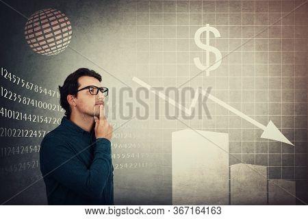 Puzzled Businessman, Economic Analyst Gives Negative Prognosis On Future Stock Market Changes. Reces