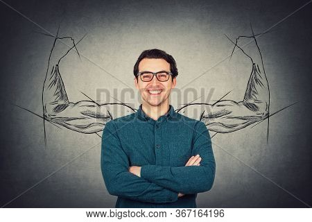 Brave And Confident Guy Keeps Arms Folded, Strong Personality, Has No Fears. Business Person Wears E