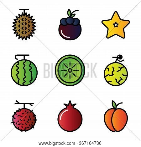 Fruit Icon Set Include Fruit, Food, Healthy Food, Durian, Mangosteen, Starfruit, Watermelon, Kiwi, M