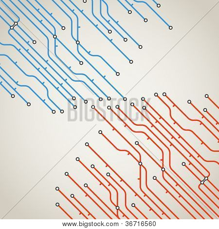 Abstract background of metro lines with arrows