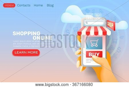 Smartphone Shopping Online Application, Web Market Banner, Sale Store.