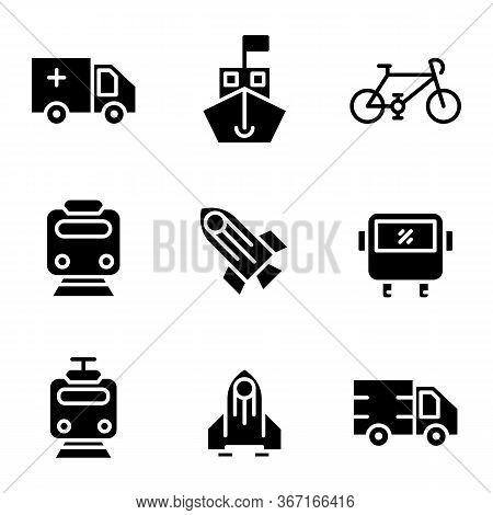 Transportation Icon Set Include Ambulance, Transportation, Car, Transport, Ship, Bike, Bicycle, Trai
