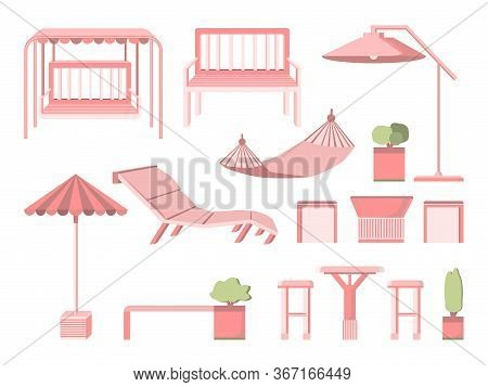 Set Furniture For Garden And Terrace In Flat Style Isolated On White Background. Bench, Deck Chair,