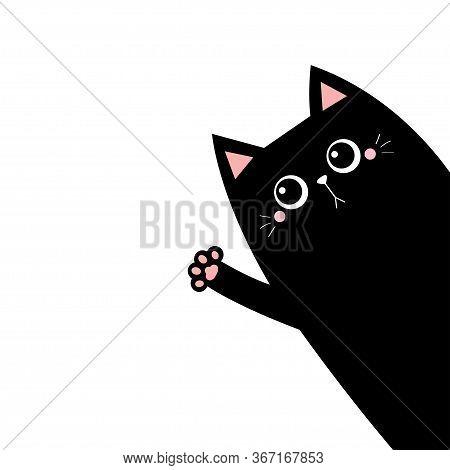 Cat Waving Hand. Black Silhouette. Pink Paw Print. Cute Cartoon Kawaii Funny Sad Face Character. Pet