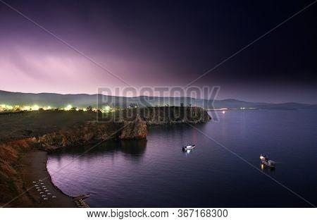 Thunder storm over Olkhon Island, Baikal, Russian Federation, Asia