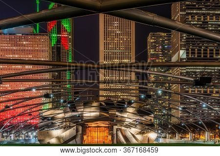 Chicago Millenium Park, Jay Pritzker Pavilion\n\nchicago, Illinois, Usa December 12 2017: Chicago Mi