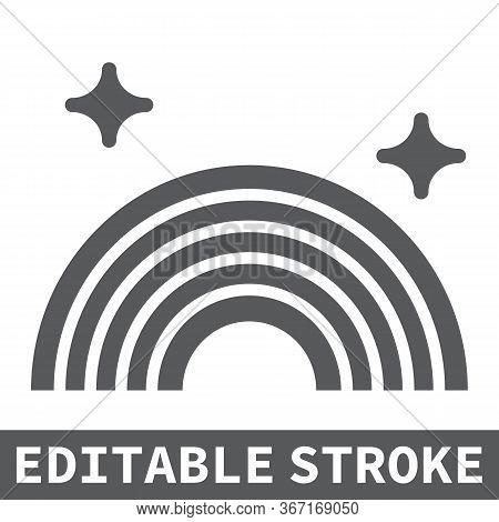 Lgbt Pride Glyph Icon, Lgbt And Pride, Rainbow Sign Vector Graphics, Editable Stroke Solid Icon, Eps