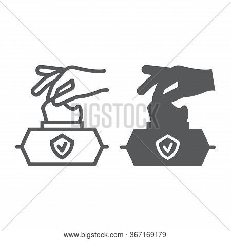 Hand Pulling Wet Tissue Line And Glyph Icon, Wash And Hygiene, Hand Tissues Sign, Vector Graphics, A