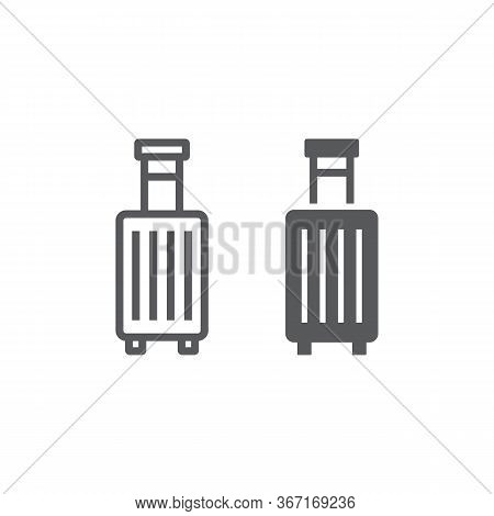 Suitcase Line And Glyph Icon, Travel And Luggage, Luggage Sign Vector Graphics, A Linear Icon On A W