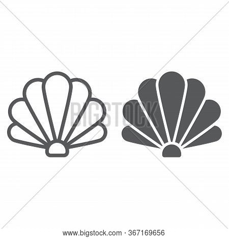 Shell Line And Glyph Icon, Ocean And Beach, Seashell Sign Vector Graphics, A Linear Icon On A White