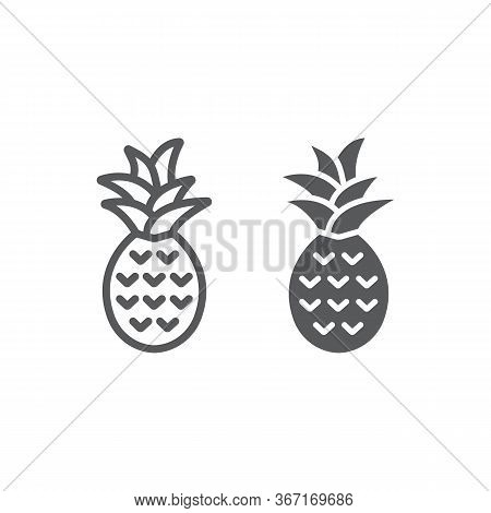 Pineapple Line And Glyph Icon, Fruit And Tropical, Ananas Sign Vector Graphics, A Linear Icon On A W