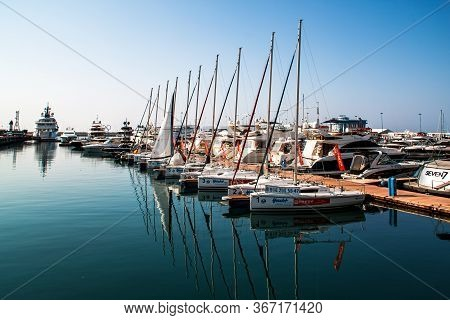 Sochi / Russia - November 04 2014: Yachts And Boats Anchored In The Port Of Sochi. Russia.