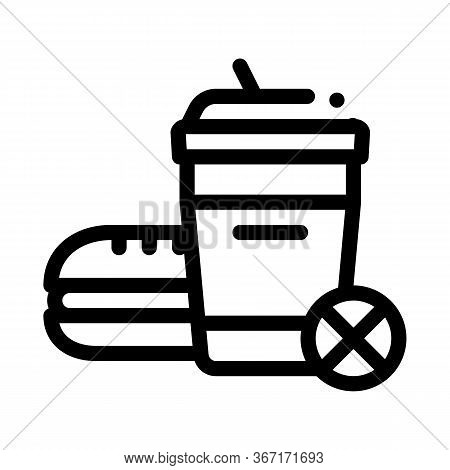 Ban On Junk Food Icon Vector. Ban On Junk Food Sign. Isolated Contour Symbol Illustration