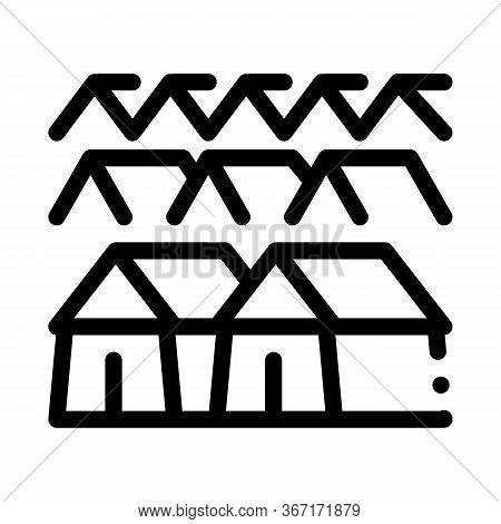 Pilgrimage Houses Icon Vector. Pilgrimage Houses Sign. Isolated Contour Symbol Illustration