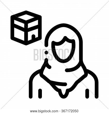 Muslim Woman Pilgrim Icon Vector. Muslim Woman Pilgrim Sign. Isolated Contour Symbol Illustration
