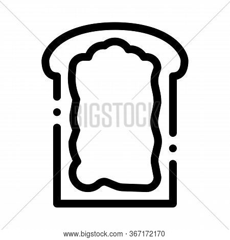 Toast With Mayonnaise Icon Vector. Toast With Mayonnaise Sign. Isolated Contour Symbol Illustration