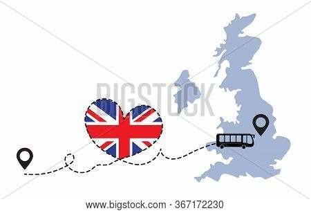 Travel To Great Britain By Bus Concept. I Love Great Britain Vector Illustration