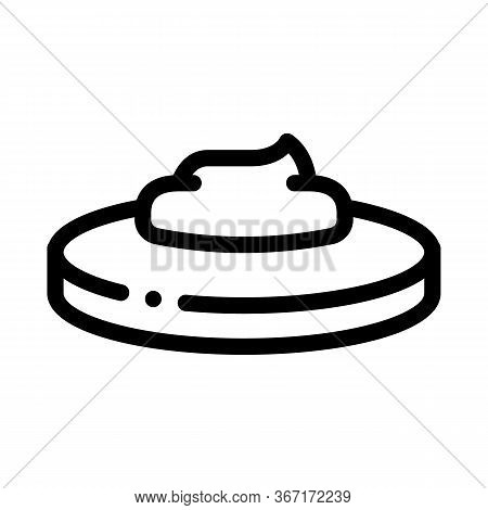 Loaf Of Bread With Mayonnaise Icon Vector. Loaf Of Bread With Mayonnaise Sign. Isolated Contour Symb